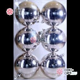 Шары пластиковые 7см цвет серебро глянец
