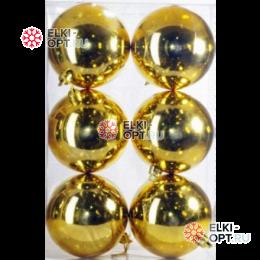 Шары пластиковые 8см цвет золото глянец