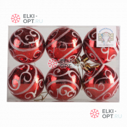 Елочный шар d=6см (6шт) цвет красный PPCB10
