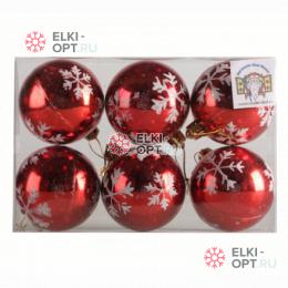 Елочный шар d=6см (6шт) со снежинками цвет красный PPCB18