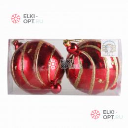 Елочный шар с рисунком d-10см (2шт) цвет красный РРСВ43