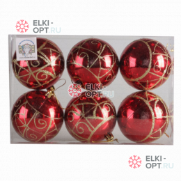 Набор елочных шаров 8см цвет красный с золотыми узорами