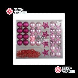 Елочный набор для украшения (37 предметов) цвет розовый РРСВ28