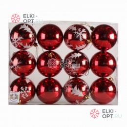 Елочный шар d=8см (12шт) цвет красный РРСВ25