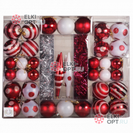 Набор елочных украшений (76 предметов) цвет белый с красным